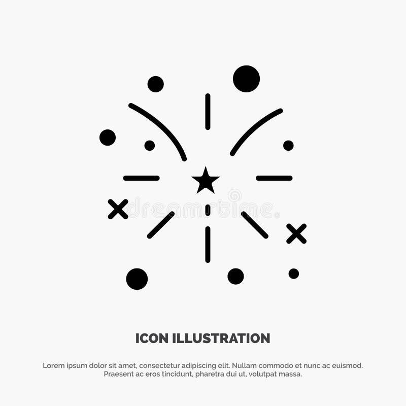 Fajerwerk, ogień, amerykanin, Usa glifu ikony stały wektor ilustracja wektor