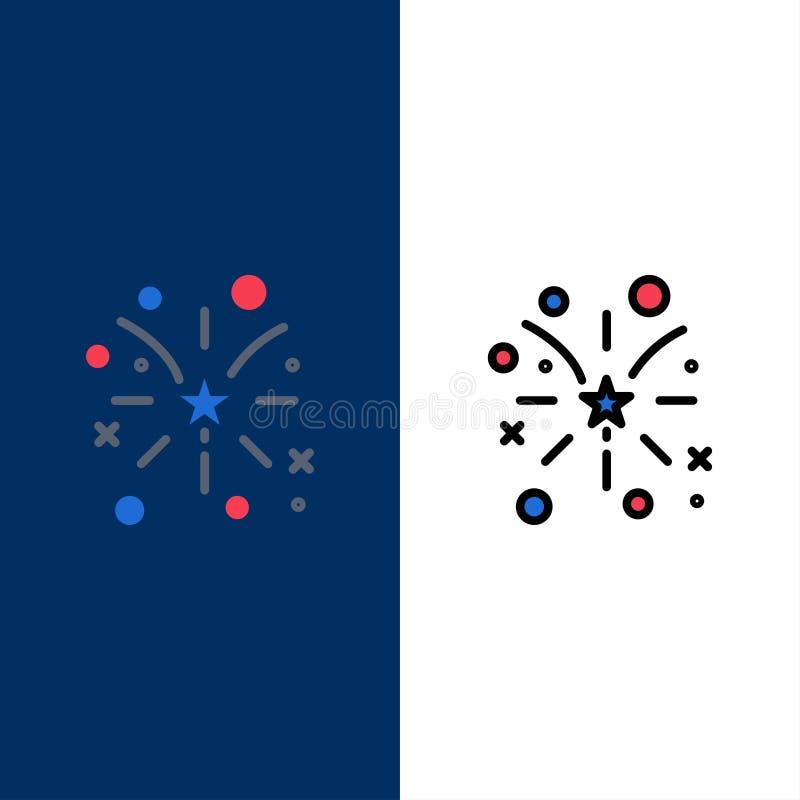 Fajerwerk, ogień, amerykanin, Usa ikony Mieszkanie i linia Wypełniający ikony Ustalony Wektorowy Błękitny tło ilustracji