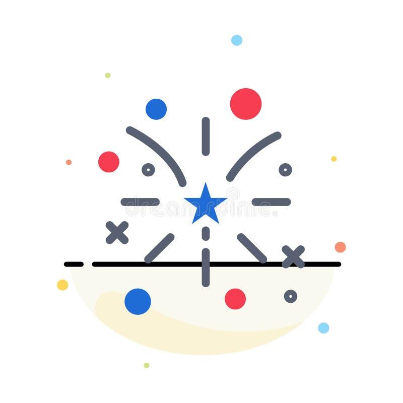 Fajerwerk, ogień, amerykanin, Usa koloru ikony Abstrakcjonistyczny Płaski szablon royalty ilustracja