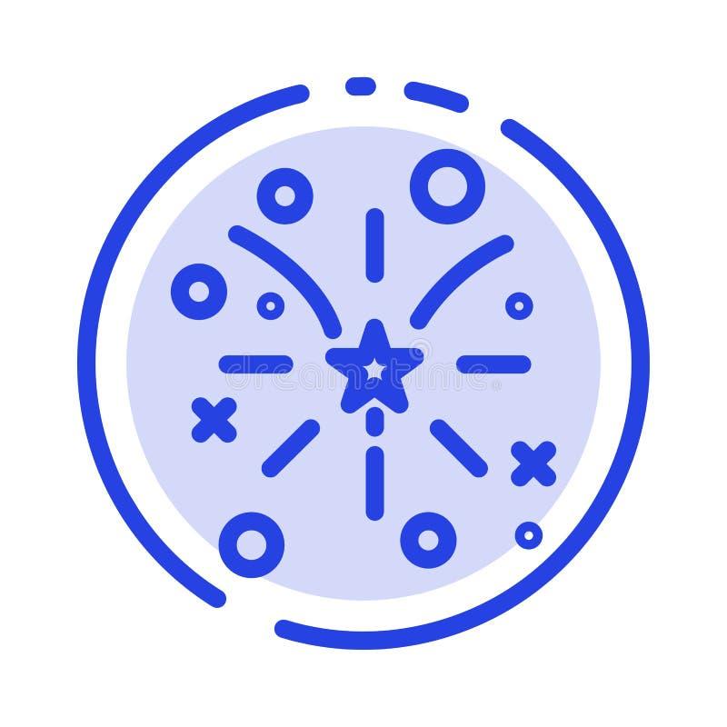 Fajerwerk, ogień, amerykanin, Usa linii linii błękit Kropkująca ikona ilustracja wektor