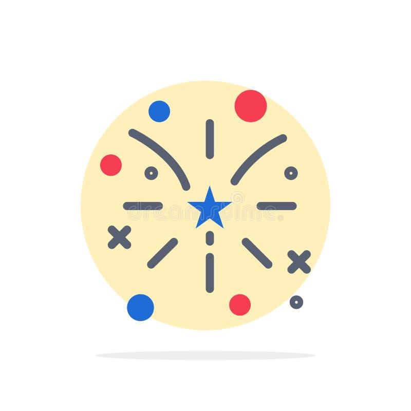 Fajerwerk, ogień, amerykanin, Usa okręgu Abstrakcjonistycznego tła koloru Płaska ikona ilustracji