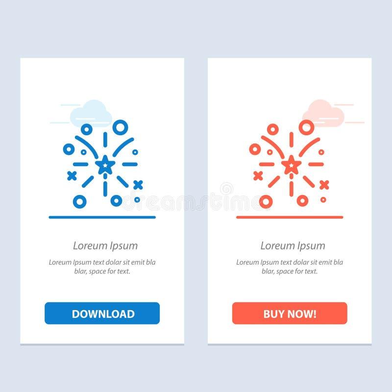 Fajerwerk, ogień, amerykanin, Usa sieci Widget karty szablon, i ściągania i zakupu Teraz ilustracja wektor