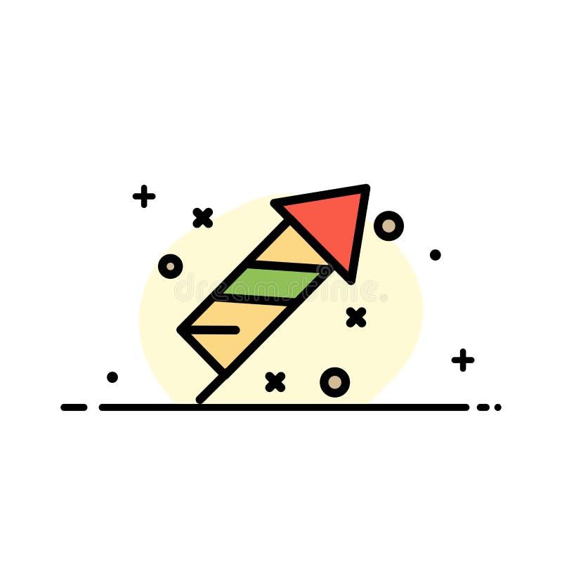 Fajerwerk, ogień, wielkanoc, dnia mieszkania ikony sztandaru Biznesowa linia Wypełniający Wektorowy szablon royalty ilustracja