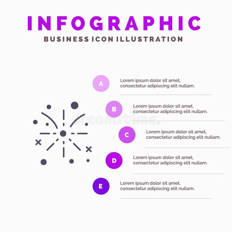 Fajerwerk, ogień, wielkanoc, Wakacyjny Stały ikony Infographics 5 kroków prezentacji tło ilustracja wektor
