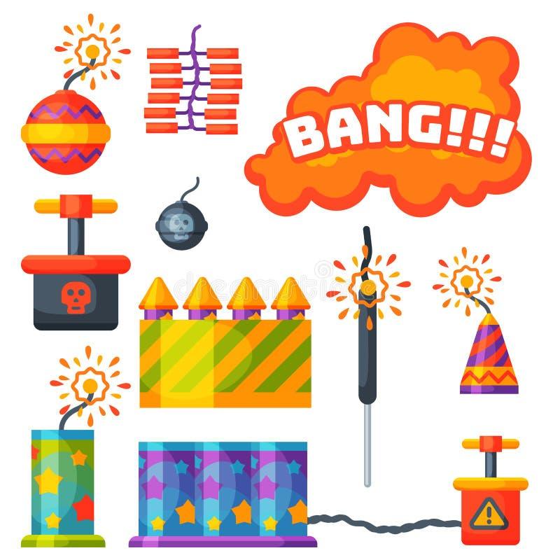 Fajerwerk pirotechnika rakiety i podlotka przyjęcia urodzinowego prezent świętują wektorowych ilustracyjnych festiwali/lów narzęd ilustracji