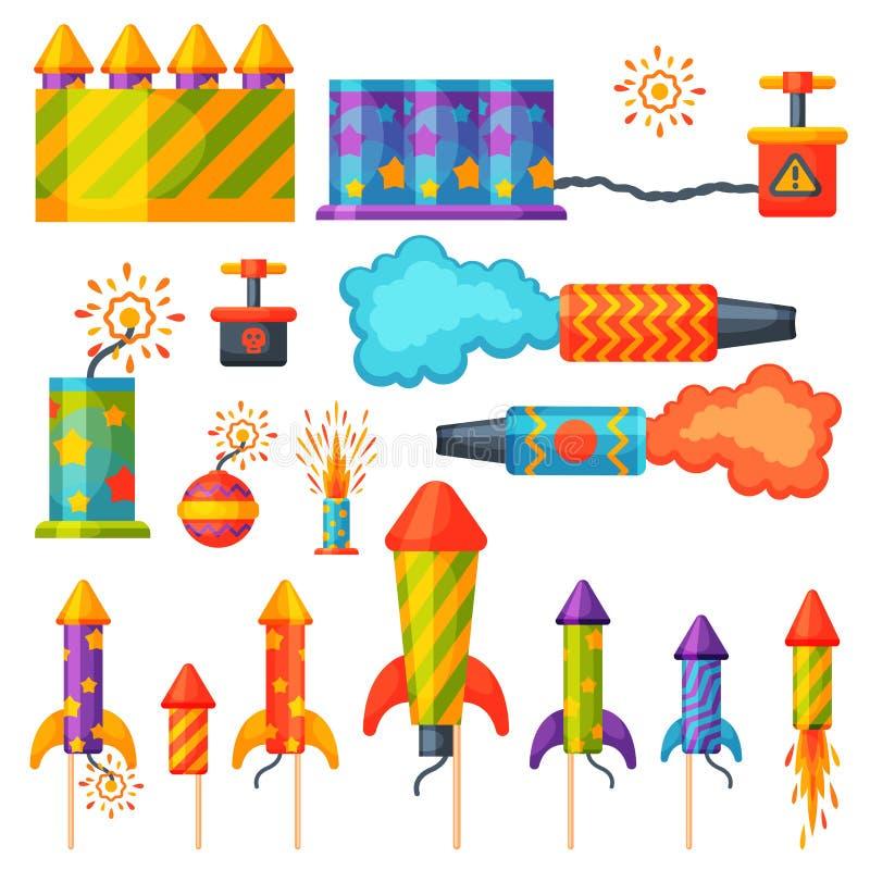 Fajerwerk pirotechnika rakiety i podlotka przyjęcia urodzinowego prezent świętują wektorowych ilustracyjnych festiwali/lów narzęd royalty ilustracja