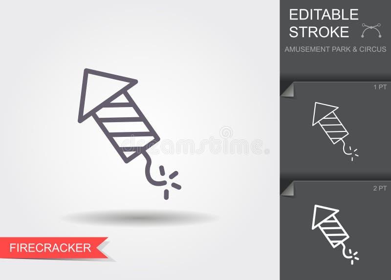 Fajerwerk rakieta Kreskowa ikona z cieniem i editable uderzeniem royalty ilustracja