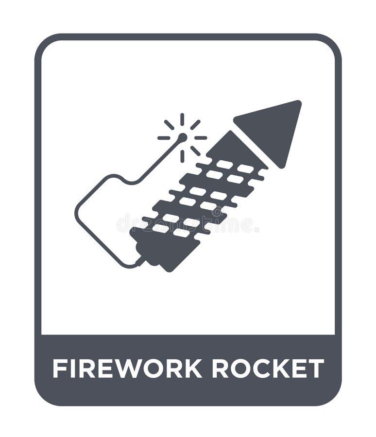 fajerwerk rakietowa ikona w modnym projekta stylu fajerwerk rakietowa ikona odizolowywająca na białym tle fajerwerk rakietowa wek royalty ilustracja