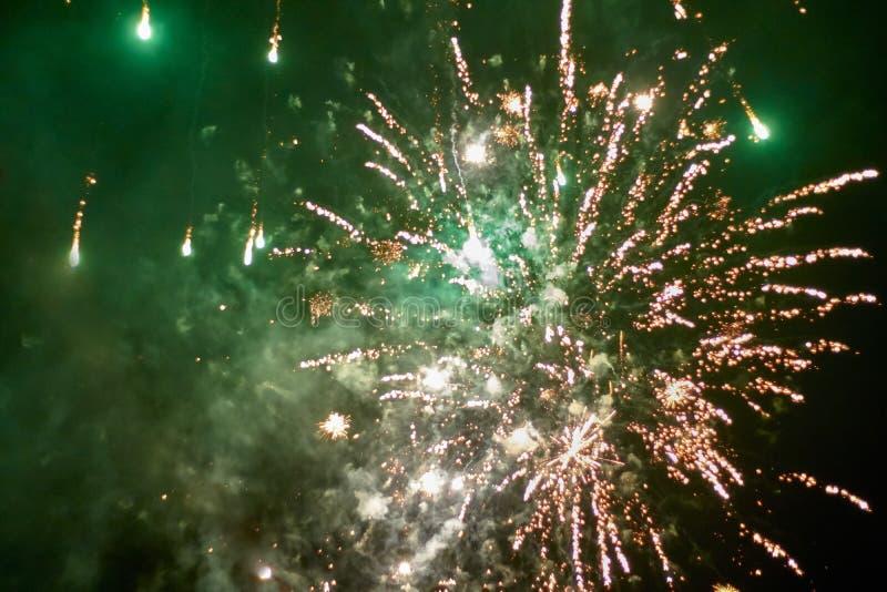 Fajerwerk rakiety wybuchają w zieleń iluminującym nocnym niebie obrazy royalty free