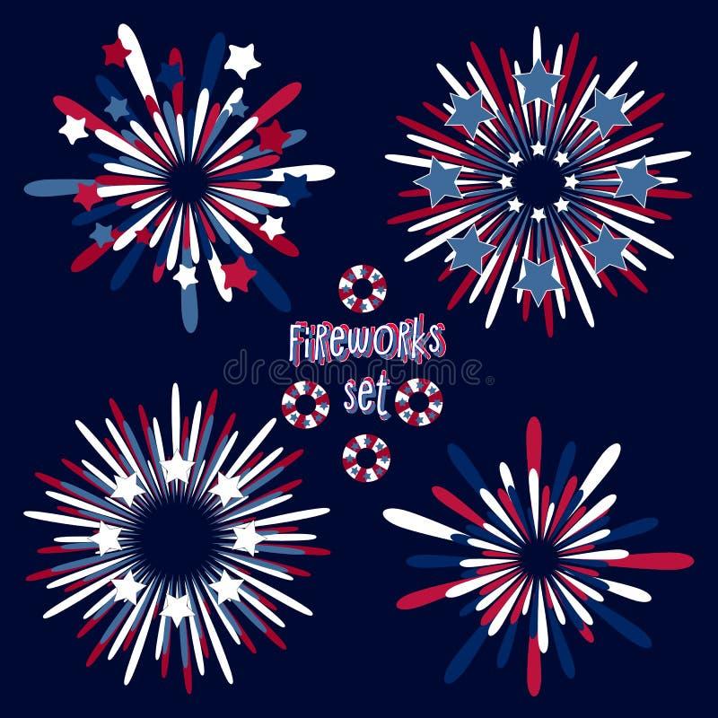 Fajerwerk ustawiający dla krajowych usa wakacji tak jak dzień i inni tradycyjni świętowania niezależności, pomnika, pracy, wetera ilustracji