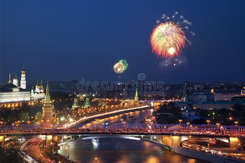Fajerwerk w Moskwa na zwycięstwo dniu w wielkiej Patriotycznej wojnie fotografia royalty free