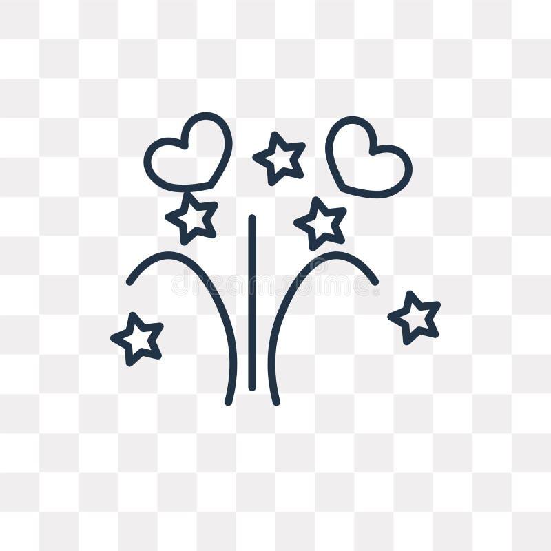 Fajerwerk wektorowa ikona odizolowywająca na przejrzystym tle, liniowym royalty ilustracja