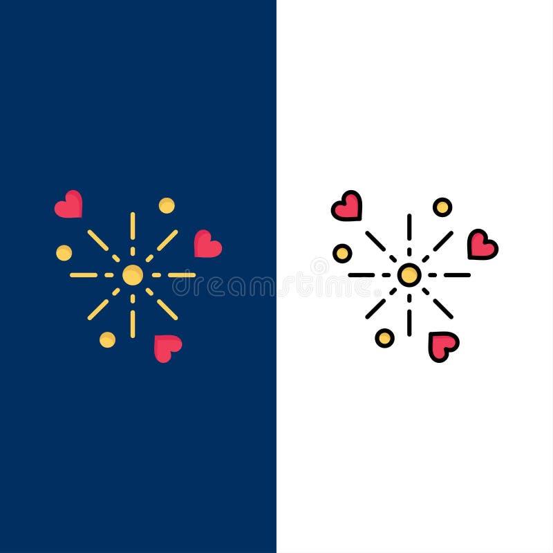 Fajerwerki, świętowanie, serce, miłość ikony Mieszkanie i linia Wypełniający ikony Ustalony Wektorowy Błękitny tło ilustracja wektor
