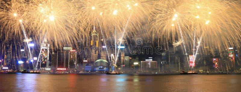 Fajerwerki świętuje chińskiego nowego roku w Hong Kong obrazy royalty free