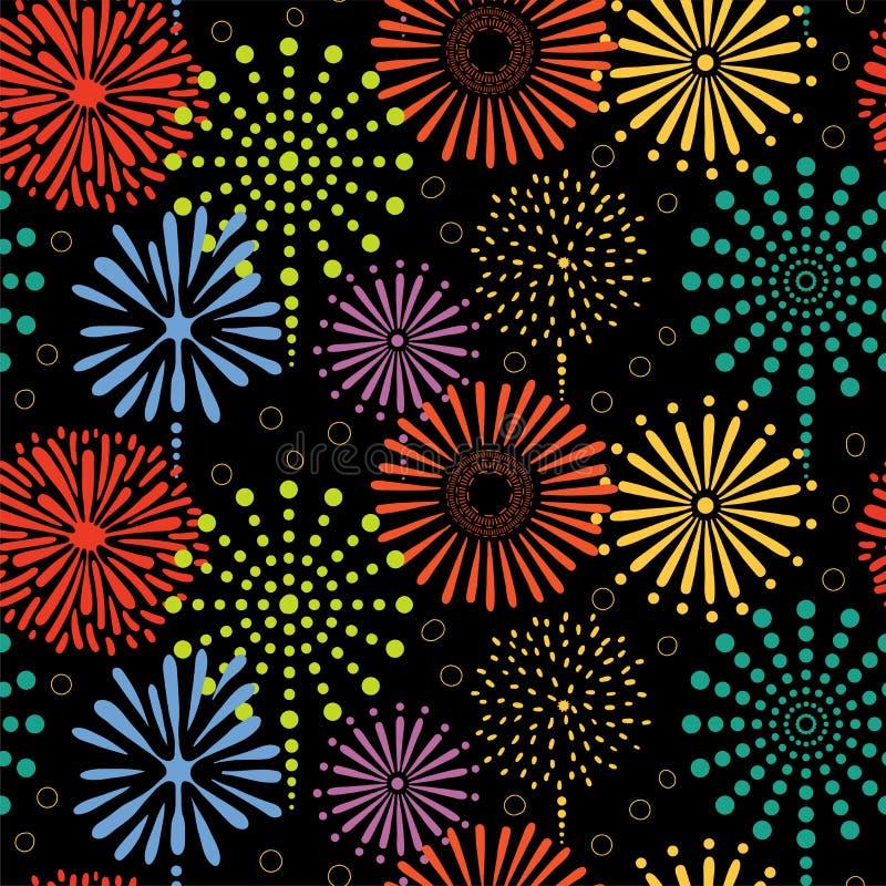 fajerwerki deseniują bezszwowego royalty ilustracja