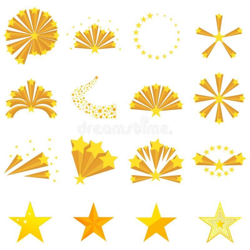 Fajerwerki gwiazdy, gwiazdowy wybuch ilustracja wektor