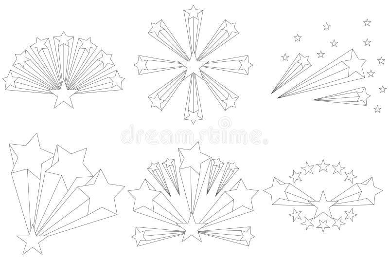 Fajerwerki gwiazdy, gwiazdowy wybuch Gwiazda wybuchu wybuchu fajerwerki royalty ilustracja