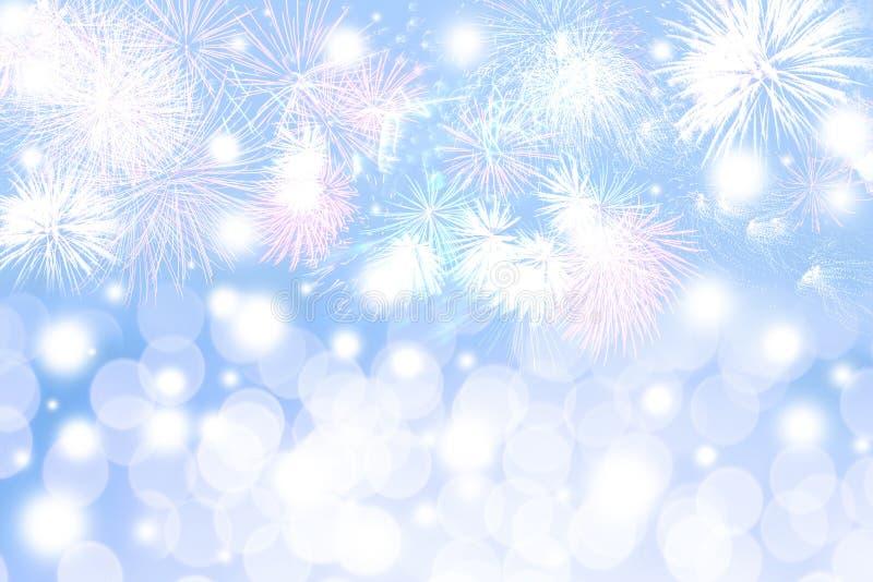 Fajerwerki i Bokeh nowego roku tło fotografia royalty free