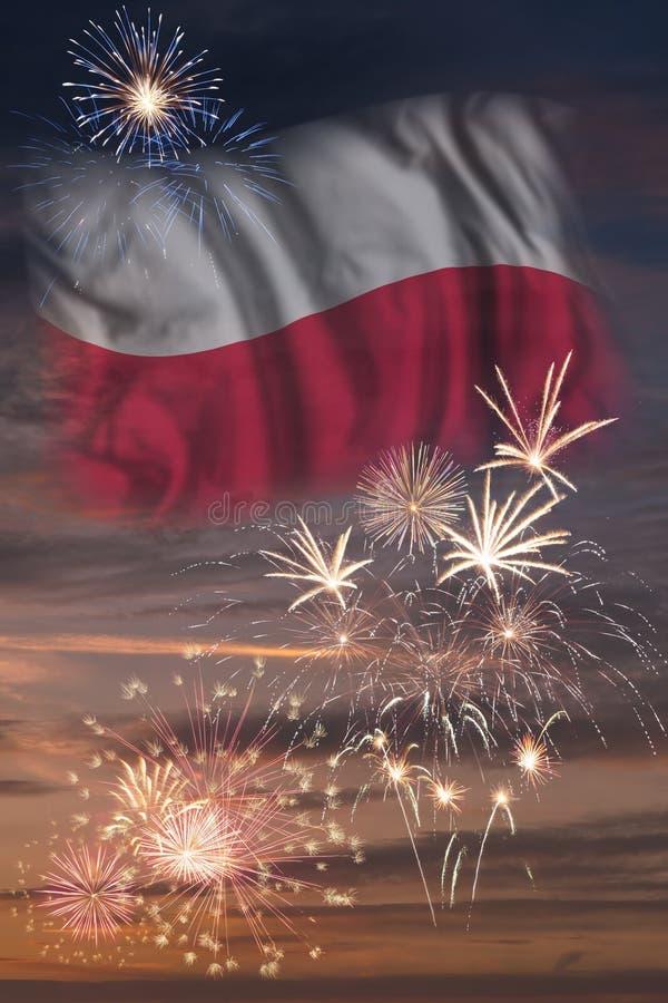 Fajerwerki i flaga Polska obrazy royalty free