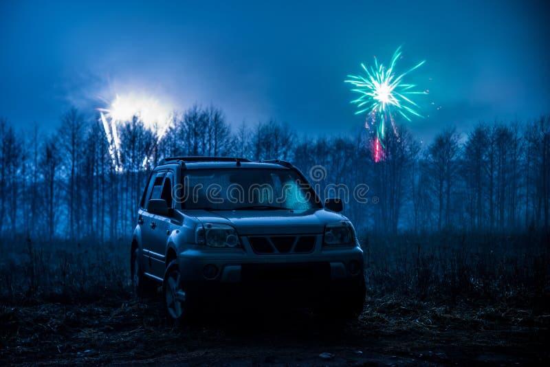 Fajerwerki i samochód fotografia stock