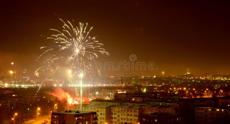 Fajerwerki nad Białostockim miastem fotografia stock