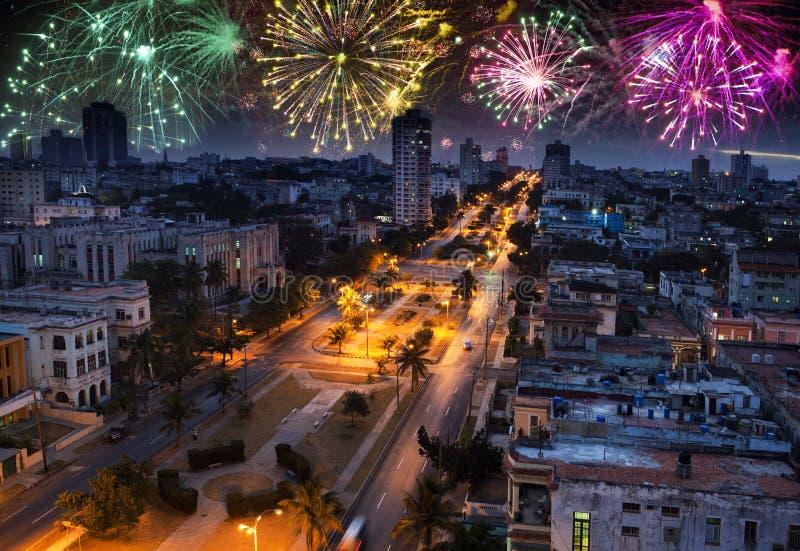 Fajerwerki nad Hawańskim, Kuba obrazy stock