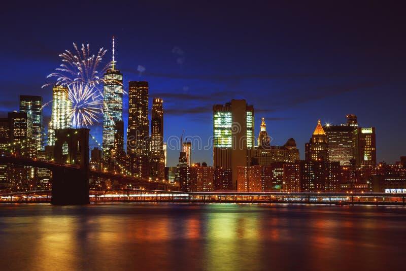 Fajerwerki nad Manhattan, Miasto Nowy Jork obraz stock