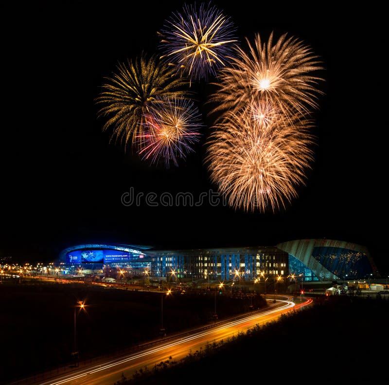 Fajerwerki nad stadium zdjęcia royalty free
