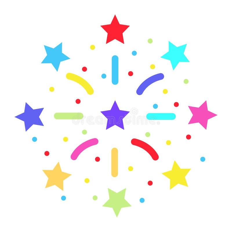 Fajerwerki płaska ikona, nowy rok i boże narodzenia, ilustracja wektor