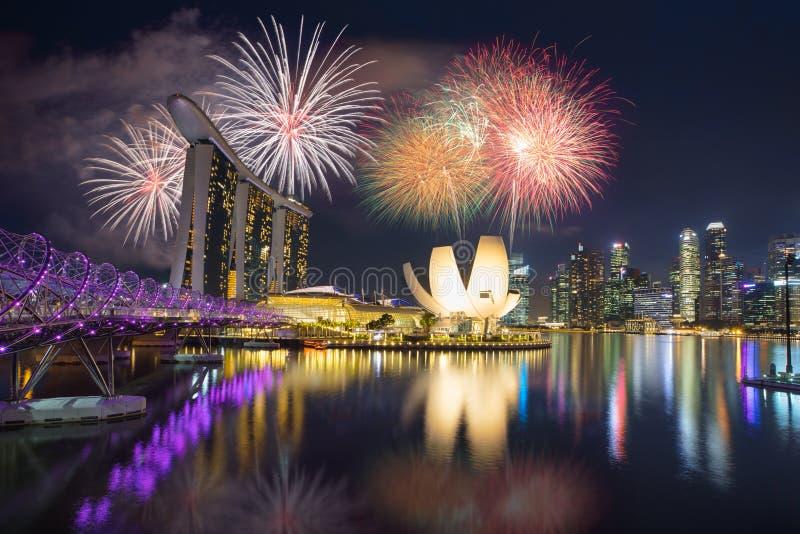 Fajerwerki przy Marina zatoką Singapur zdjęcie royalty free