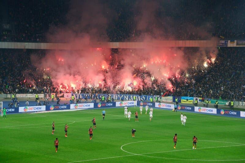 Fajerwerki przy piłki nożnej areną w Kijów obrazy stock