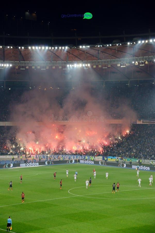 Fajerwerki przy piłki nożnej areną w Kijów fotografia stock