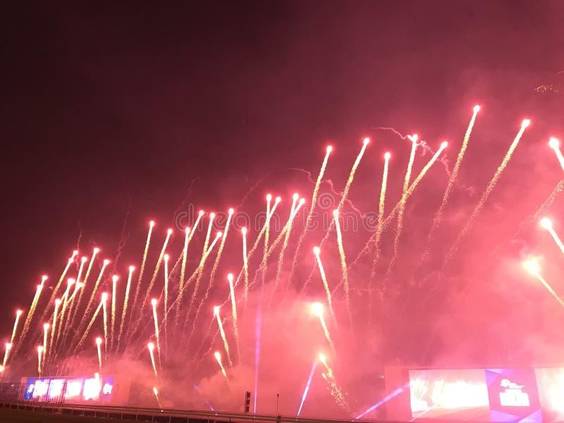 Fajerwerki przy Shatin Racecourse II zdjęcia stock