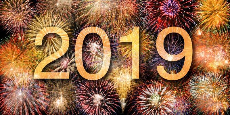 Fajerwerki przy Silvester i nowego roku ` s dniem 2019 obraz royalty free