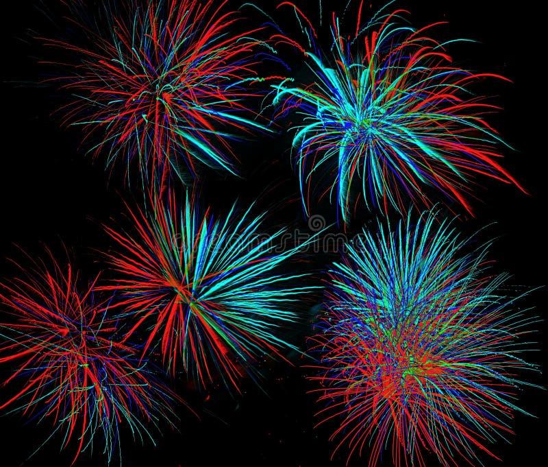 Fajerwerki przychodzący w kolorach, kształtach i rozmiarach wszystkie, fotografia stock