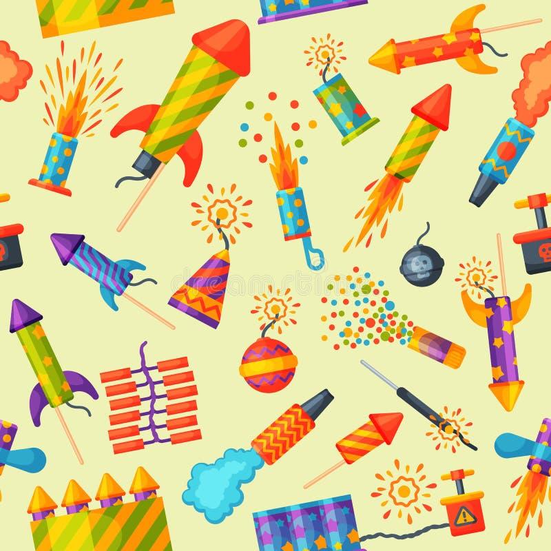 Fajerwerki rakieta i podlotka przyjęcia urodzinowego prezent świętują bezszwowego deseniowego wektorowego ilustracyjnego tło fest royalty ilustracja