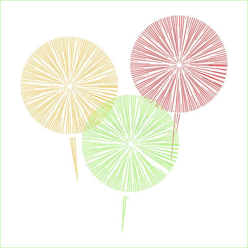 fajerwerki trzy koloru na białym tle obraz stock