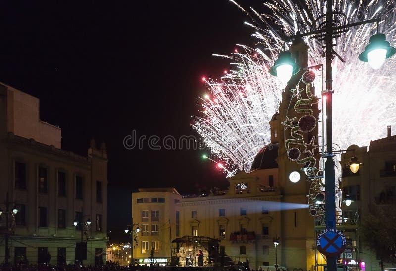 Fajerwerki w placu De españa dla przyjazdu Magi obraz stock