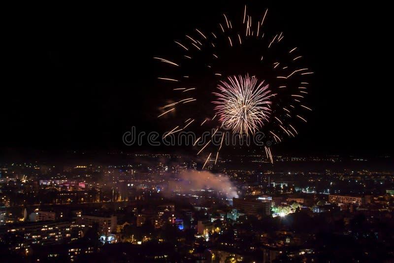 Fajerwerki w Plovdiv, Bułgaria zdjęcie stock