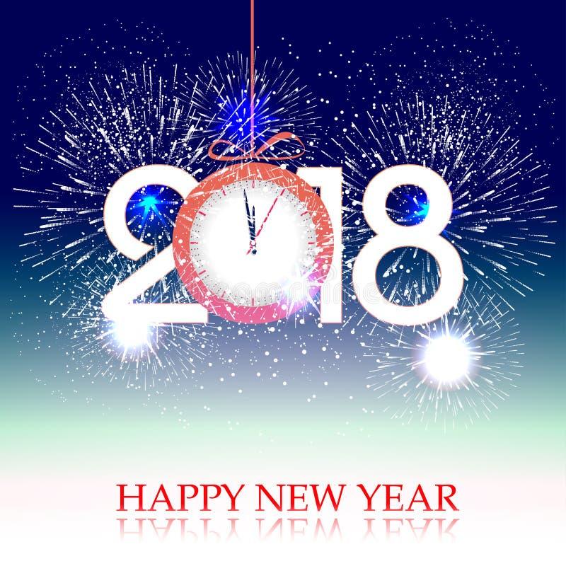 Fajerwerki wystawiają dla szczęśliwego nowego roku 2018 nad miasto z zegarem royalty ilustracja