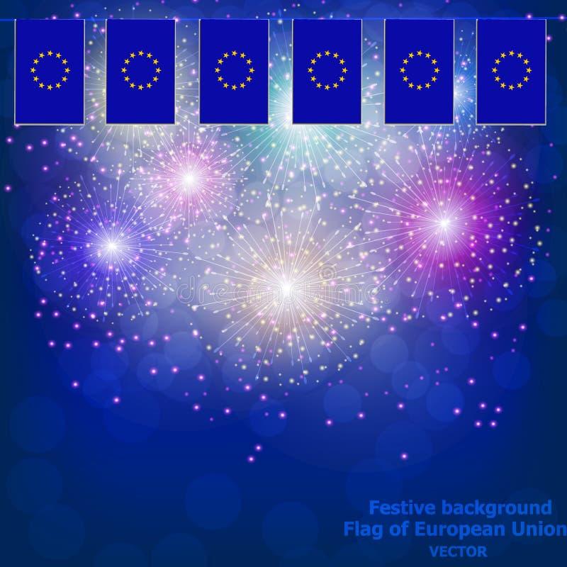 Fajerwerki z flagi unią europejską ilustracji