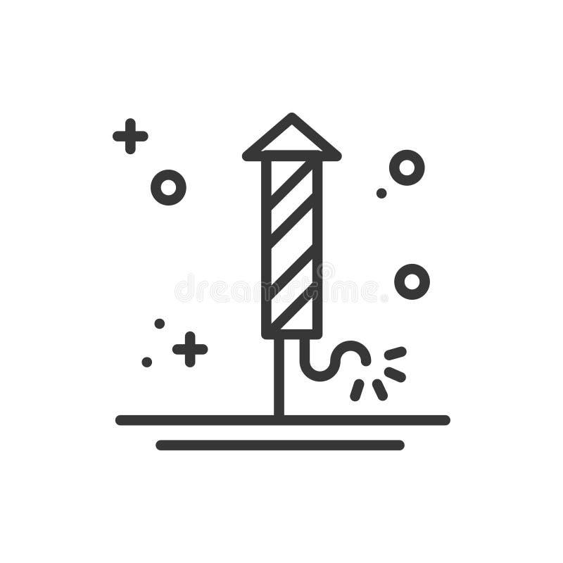 Fajerwerku banger petardy salutu ikona Bożenarodzeniowy świętowanie dekorujący nowego roku piktogram Xmas zimy cienka linia ilustracja wektor