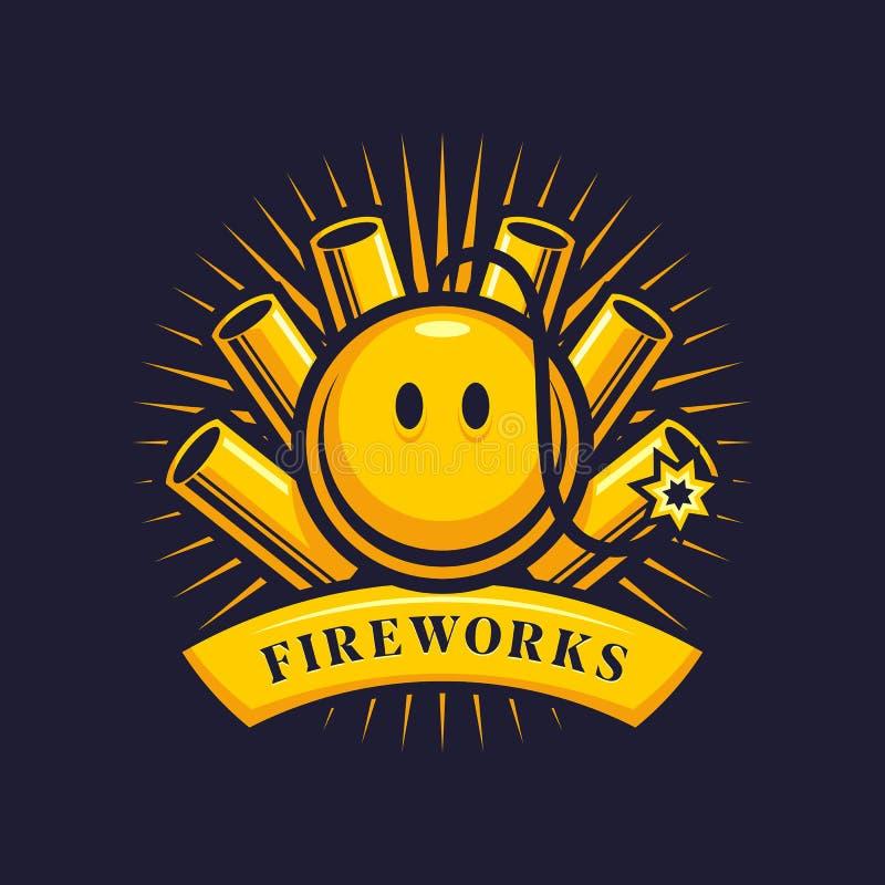 Fajerwerku emblemat z petardami i uśmiechniętą bombą ilustracji