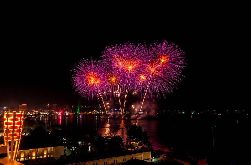 Fajerwerku festiwal przy Pattaya zdjęcie royalty free