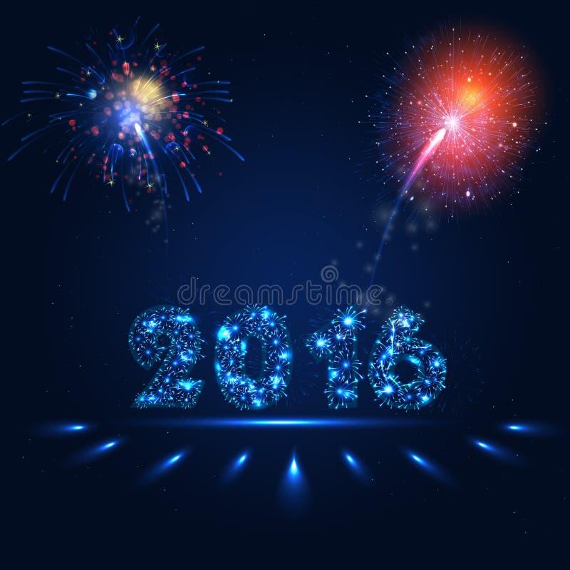 Fajerwerku przyjęcie tło - Szczęśliwy nowy rok 2016 royalty ilustracja
