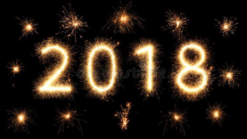 2018 fajerwerku sparkler jaskrawi rozjarzeni nowy rok obraz stock