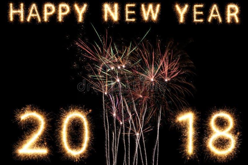 2018 fajerwerku sparkler jaskrawi rozjarzeni nowy rok zdjęcie royalty free