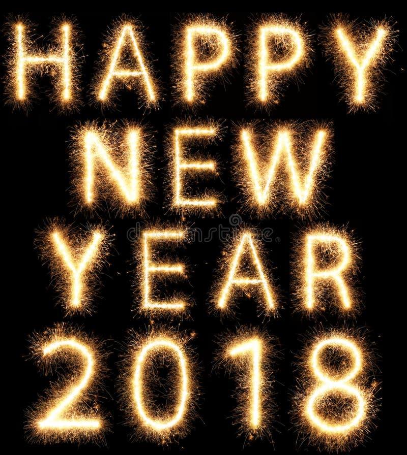 2018 fajerwerku sparkler jaskrawi rozjarzeni nowy rok zdjęcie stock
