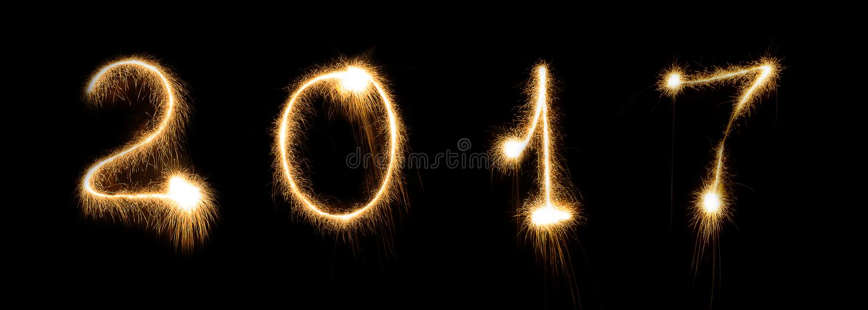 Fajerwerku sparkler nowy rok wigilii chrzcielnicy literowania liczby jaskrawa rozjarzona data obrazy stock