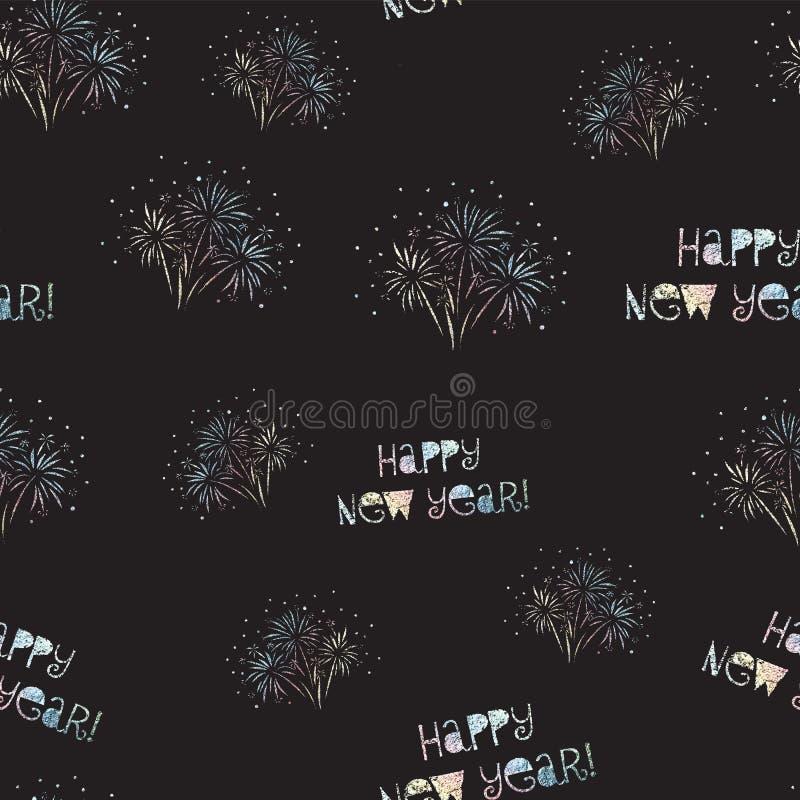 Fajerwerku Szczęśliwego nowego roku wektoru bezszwowy wzór odizolowywający Jaskrawi kolorowi fajerwerki na czarnym tle Błyszcząca ilustracja wektor
